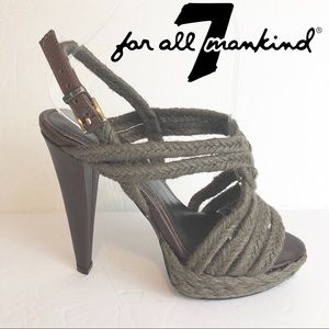 7 for All Mankind Rope Strappy Sandals Vero Cuoio